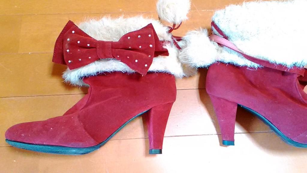 赤いハイヒールブーツのヒール・トップリフト交換の靴修理