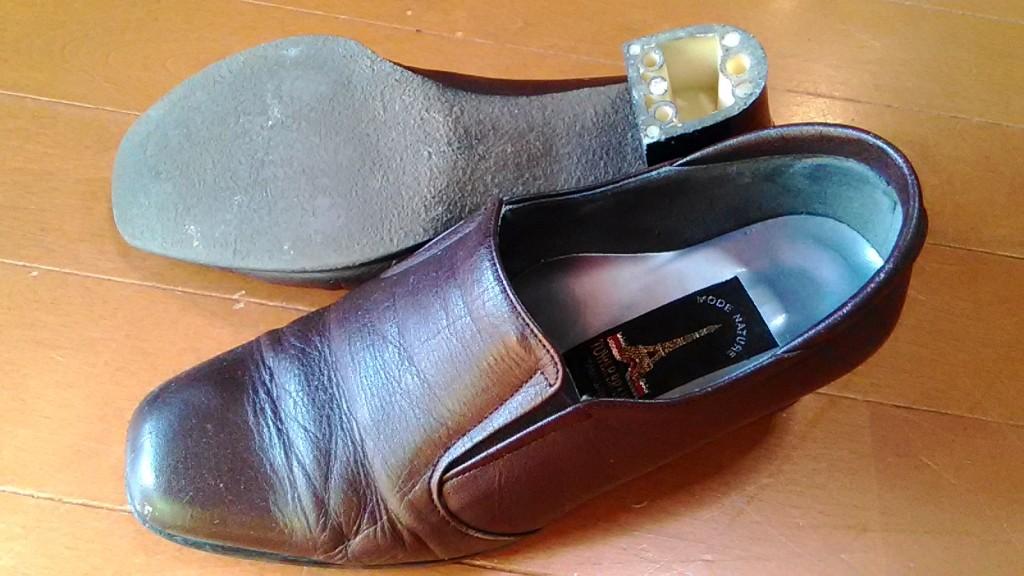 レディースシューズのトップリフト交換の靴修理