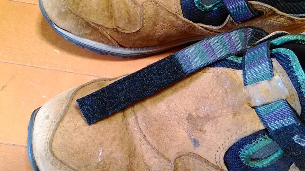 アッパーのミシンほつれの&マジックテープの交換の靴修理