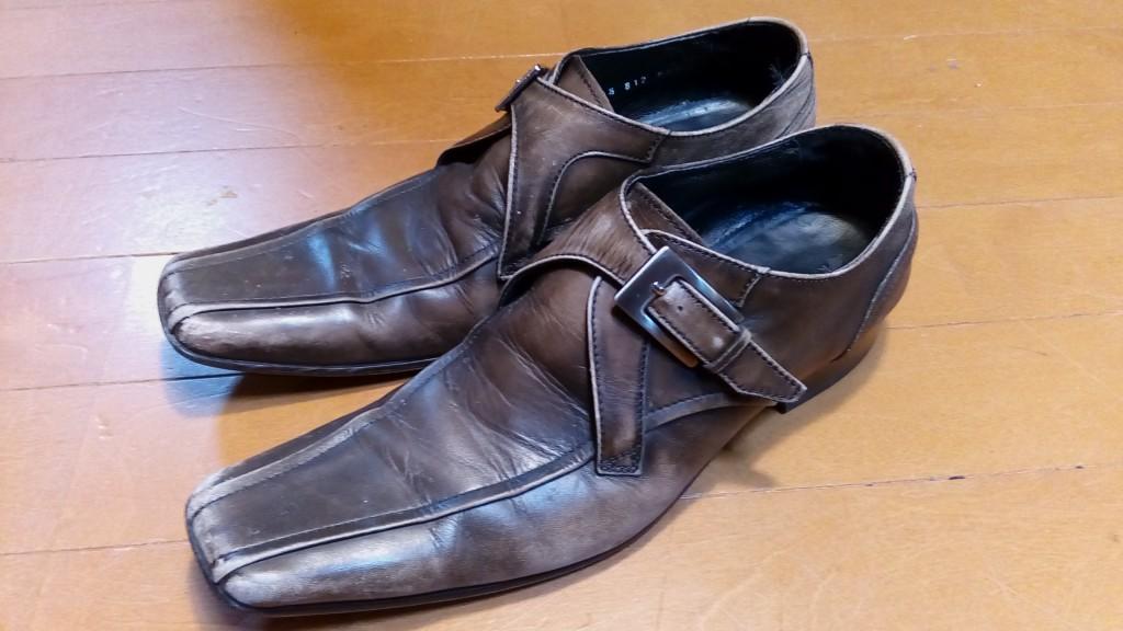 キャサリンハムネットのモンクストラップのトップリフト交換&ゴム半貼り&アッパー補色の靴修理