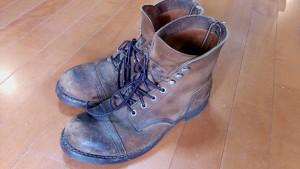 レッドウィングのスエードブーツの丸洗い&補色の靴修理