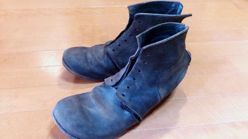 メンズブーツのオールソール&ファスナー交換&羽根部分の補修の靴修理