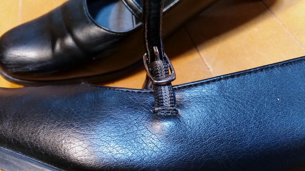 ストラップパンプスのベルトゴム交換の靴修理