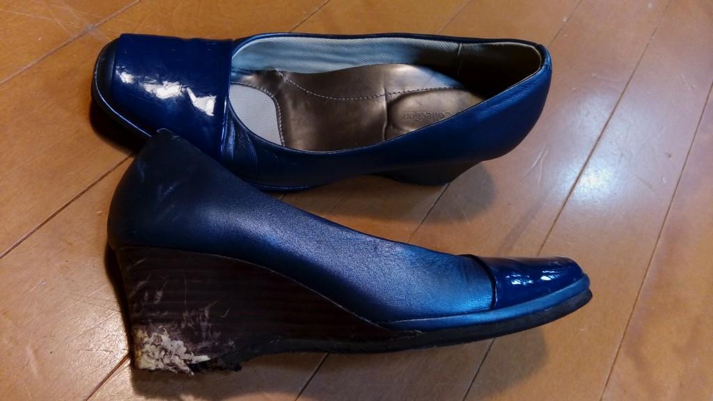 レディース・ウェッジソールの革巻交換の靴修理