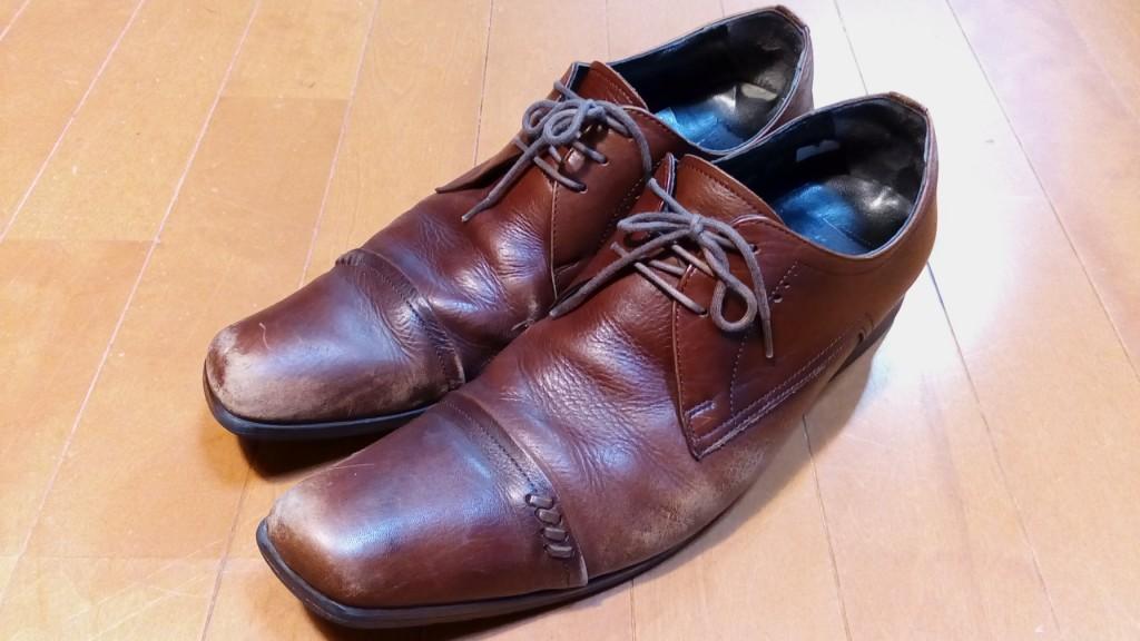 靴修理品98:革靴のつま先銀めくれ補修の靴修理