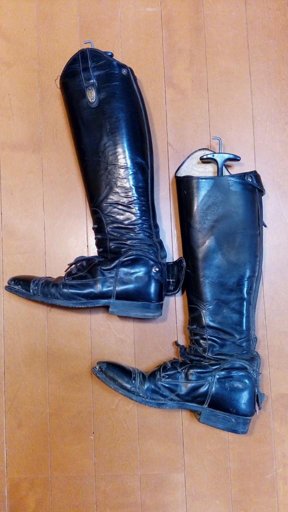 靴修理品100:乗馬用ブーツのファスナー交換の靴修理