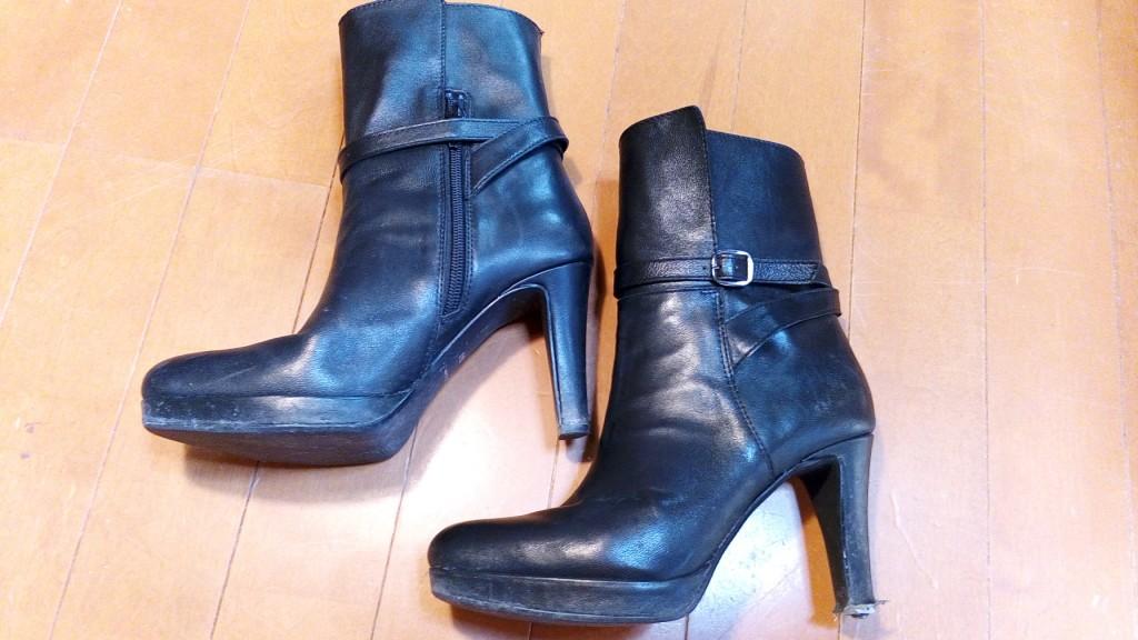 靴修理品118:レディースブーツのピンヒール交換&革補修の靴修理