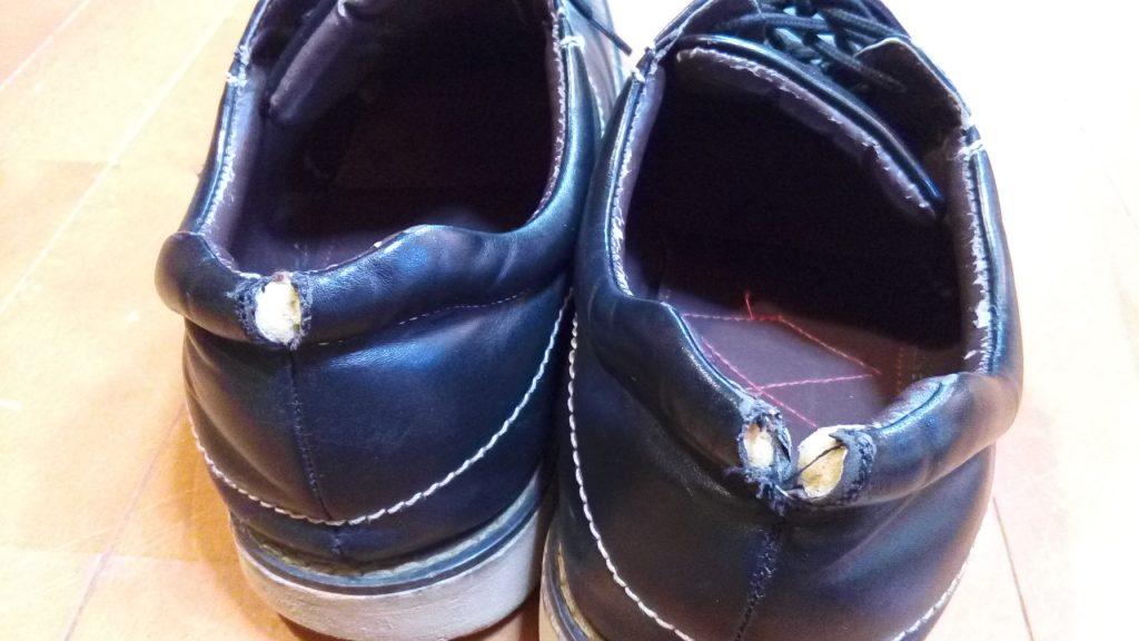 靴修理品124:メンズレザースニーカーの履き口破れの補修の靴修理