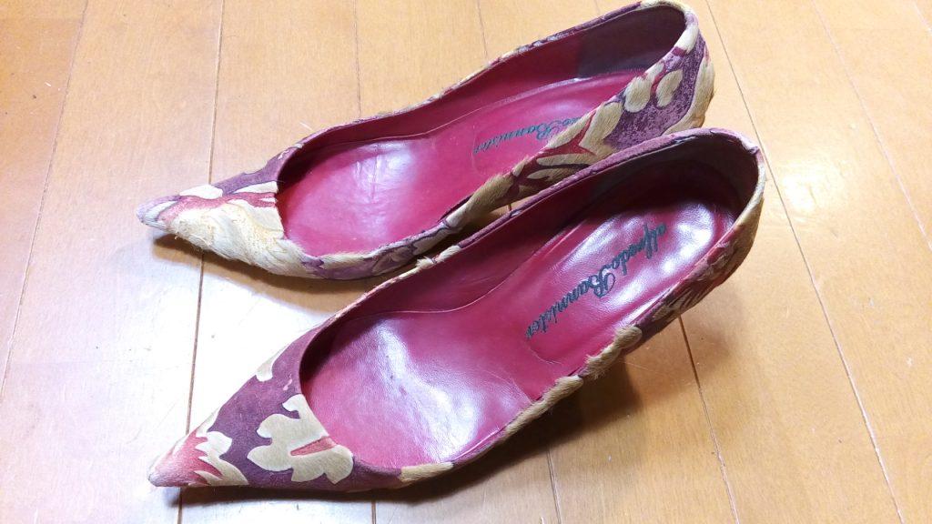 レディースパンプスのゴム半張り&トップリフト交換の靴修理