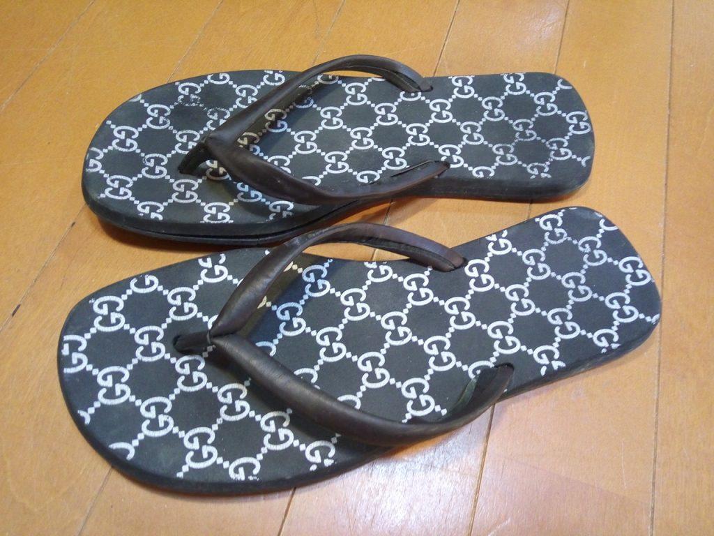 グッチのサンダルのオールソールの靴修理