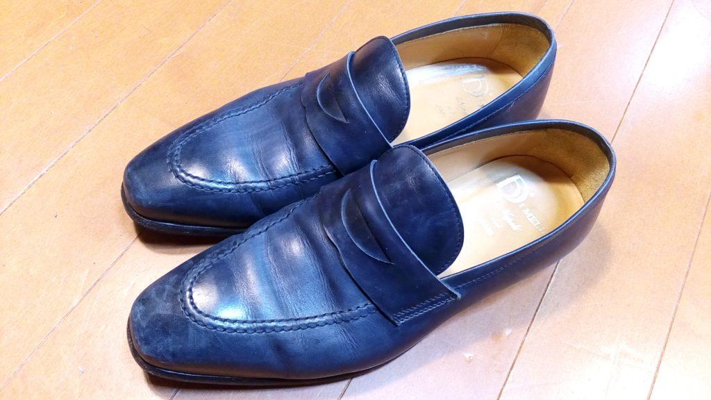 靴修理品148:メンズローファーのトップリフト交換の靴修理