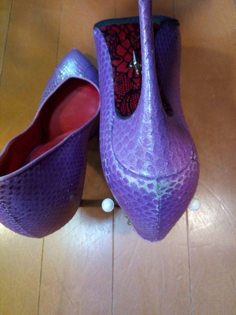 靴修理品161:レディースパンプスのヒール&アッパー補修の靴修理