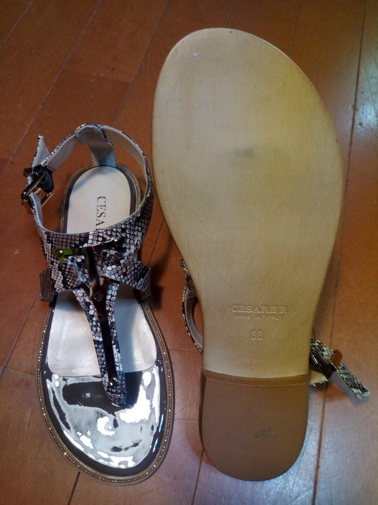 靴修理品163:レディースサンダルのゴム半張りの靴修理