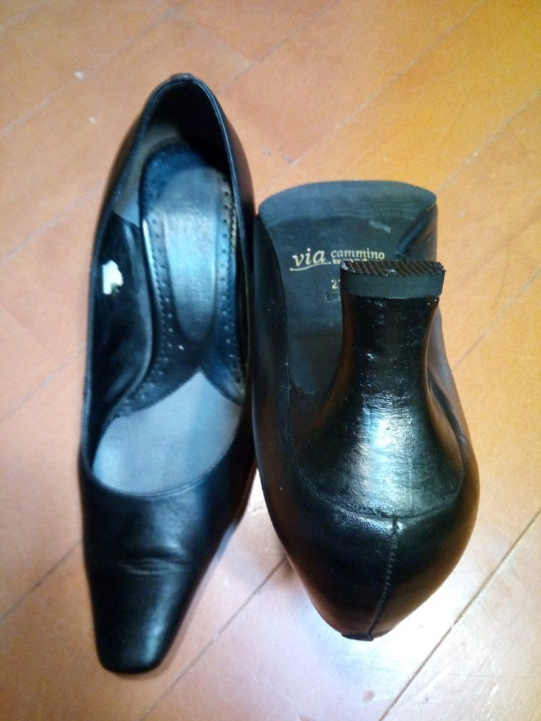 靴修理品157:レディースパンプスのトップリフト交換&ヒール補修の靴修理