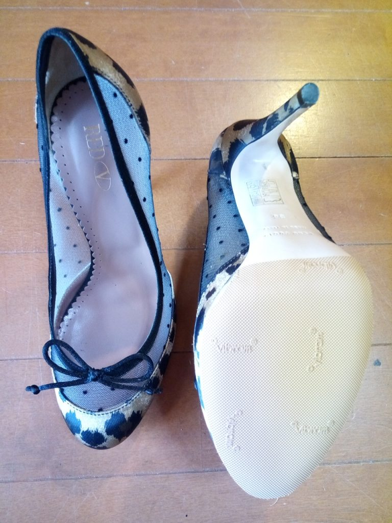 靴修理品165:レディースハイヒールパンプスのゴム半張りの靴修理