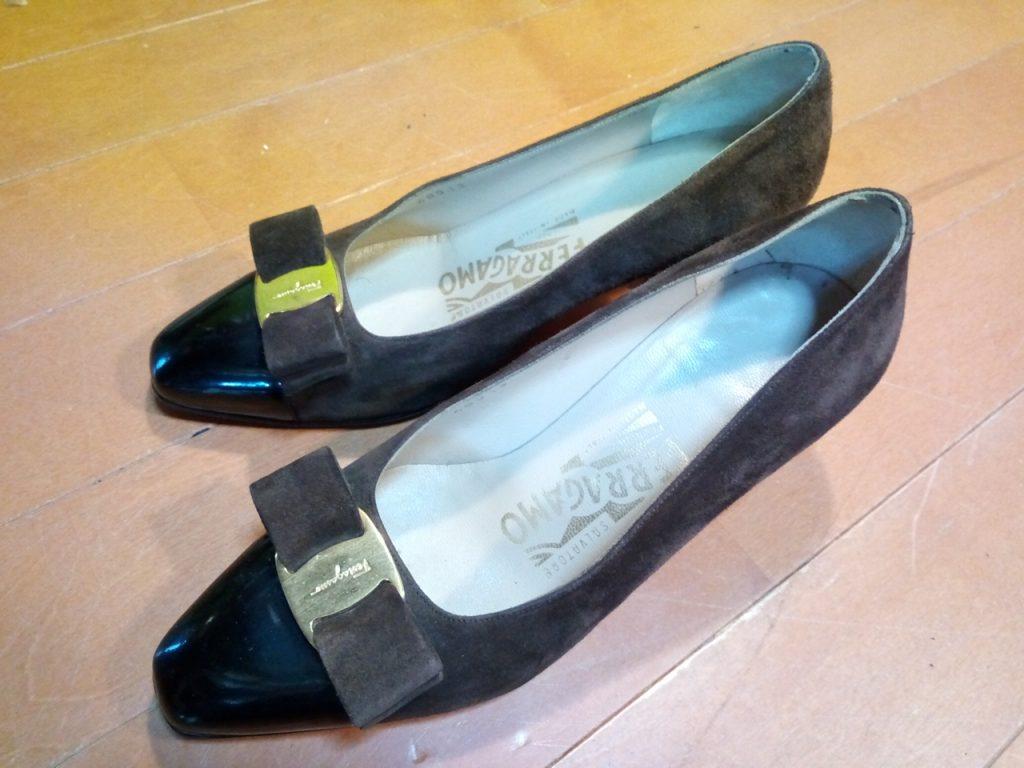 フェラガモのパンプスのトップリフト交換の靴修理
