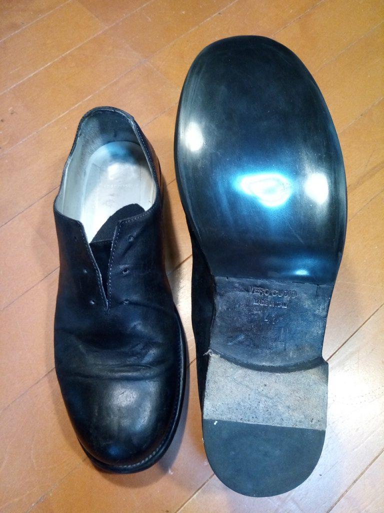 メンズシューズのゴム半張り補修の靴修理