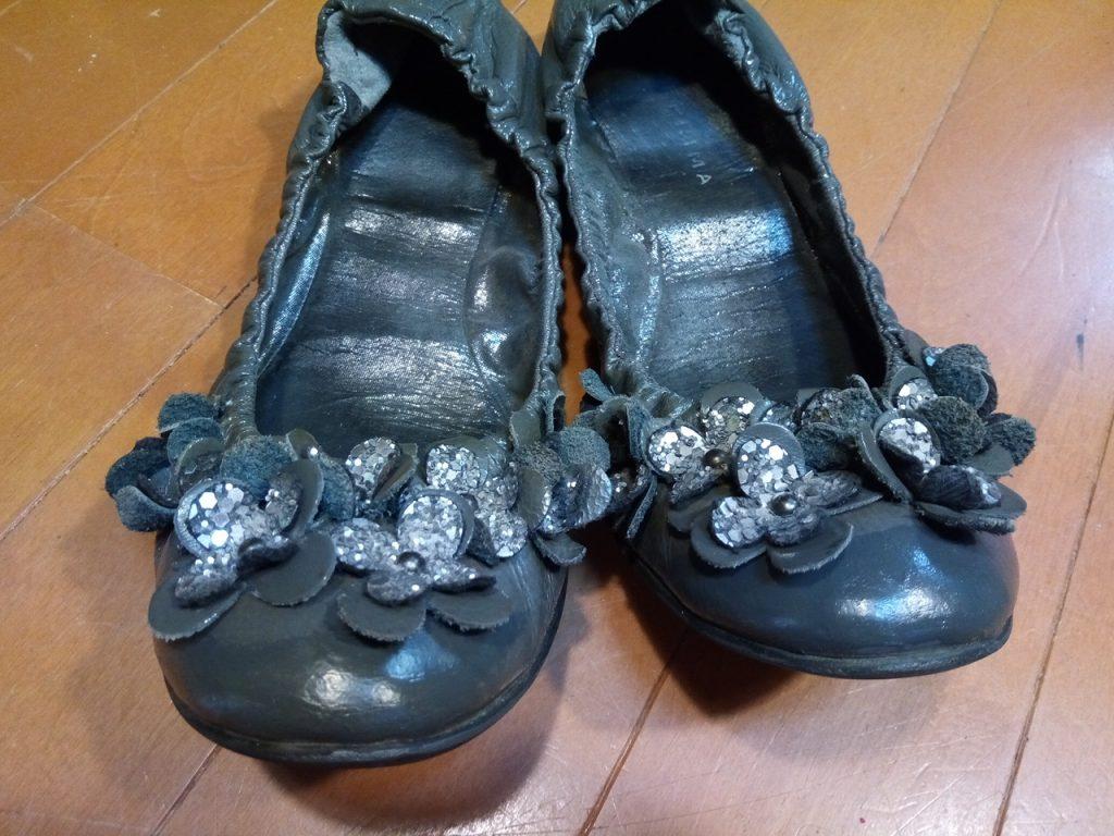 レディース・バレエシューズのアッパー補修の靴修理