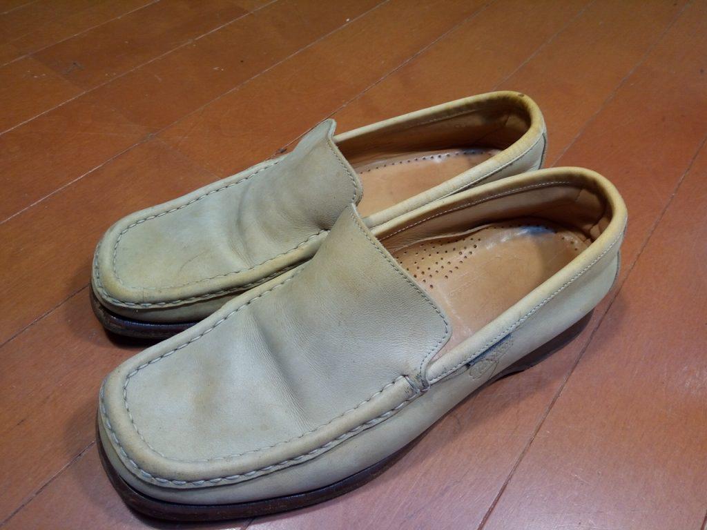 メンズ・パラブーツのローファー丸洗い&トップリフト交換&色補修の靴修理