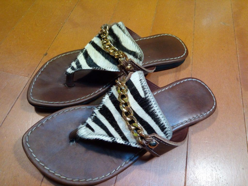 レディース・サンダルのライニング張り替え&ゴム半張りの靴修理