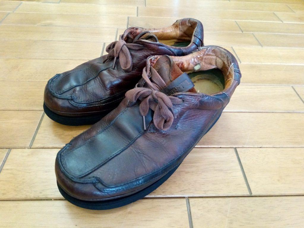 メンズ・ウォーキングシューズのオールソールの靴修理