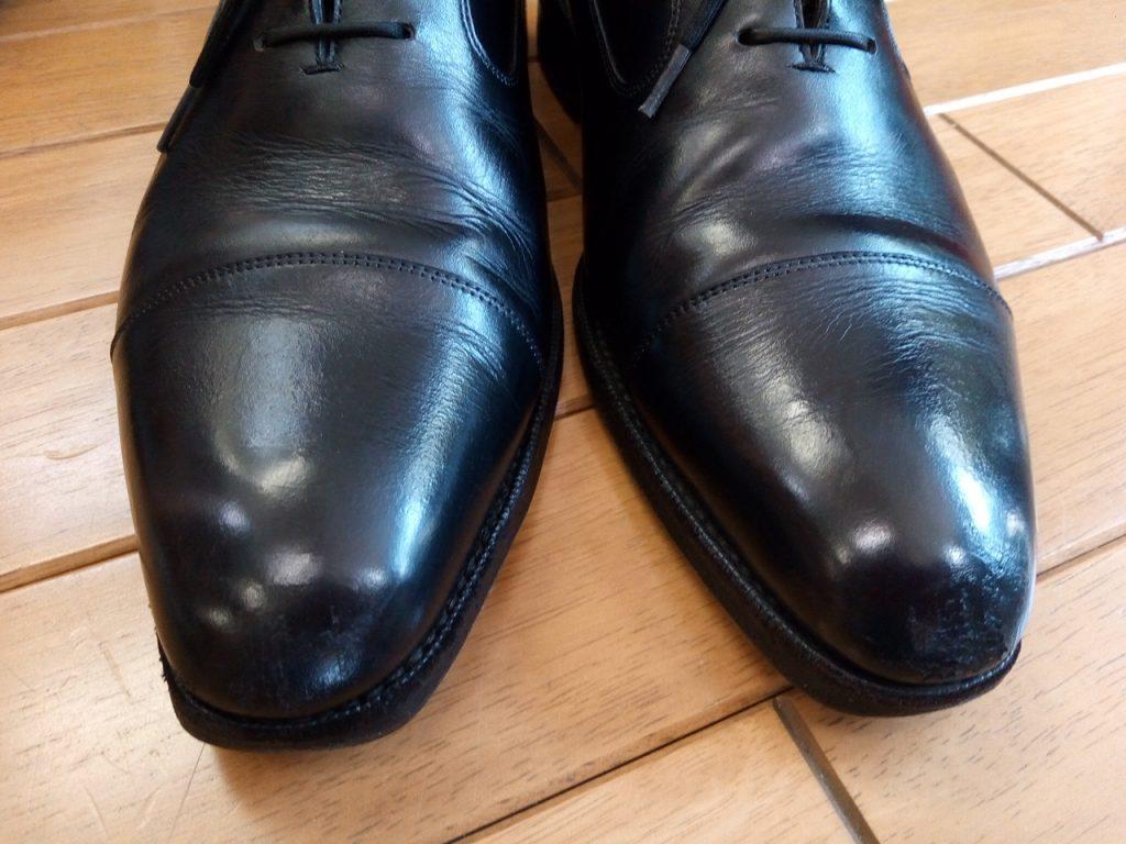 カルミナの内羽根ストレートチップのトップリフト交換&アッパーつま先補修の靴修理