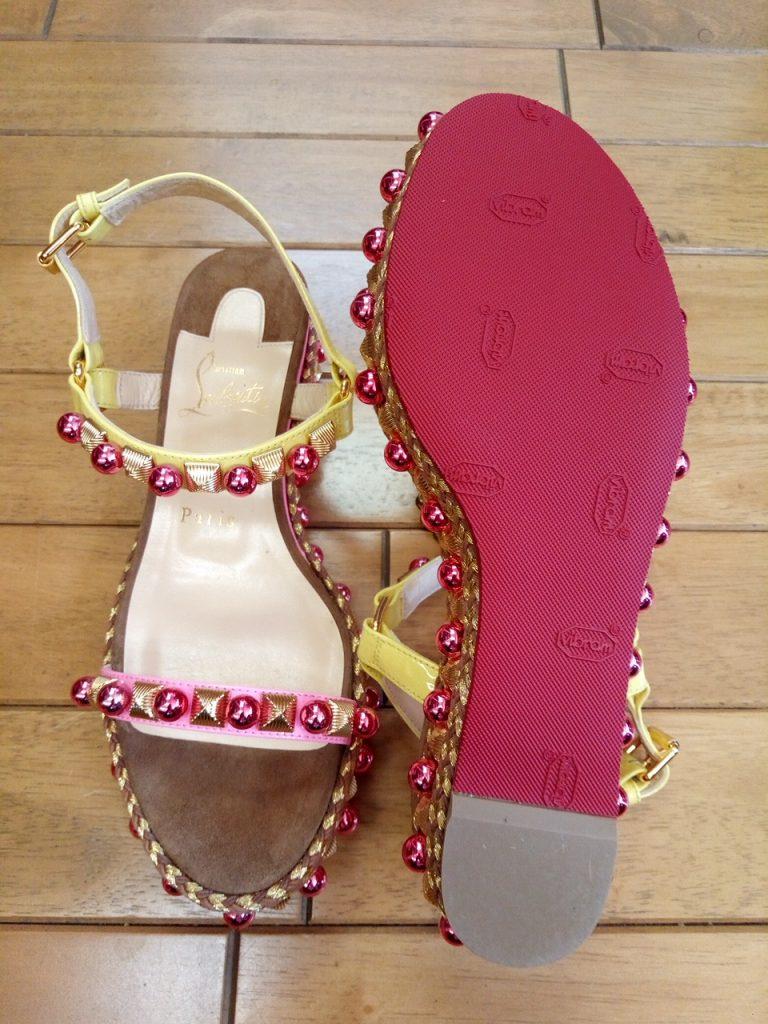 ルブタンのサンダルのゴム半張りの靴修理