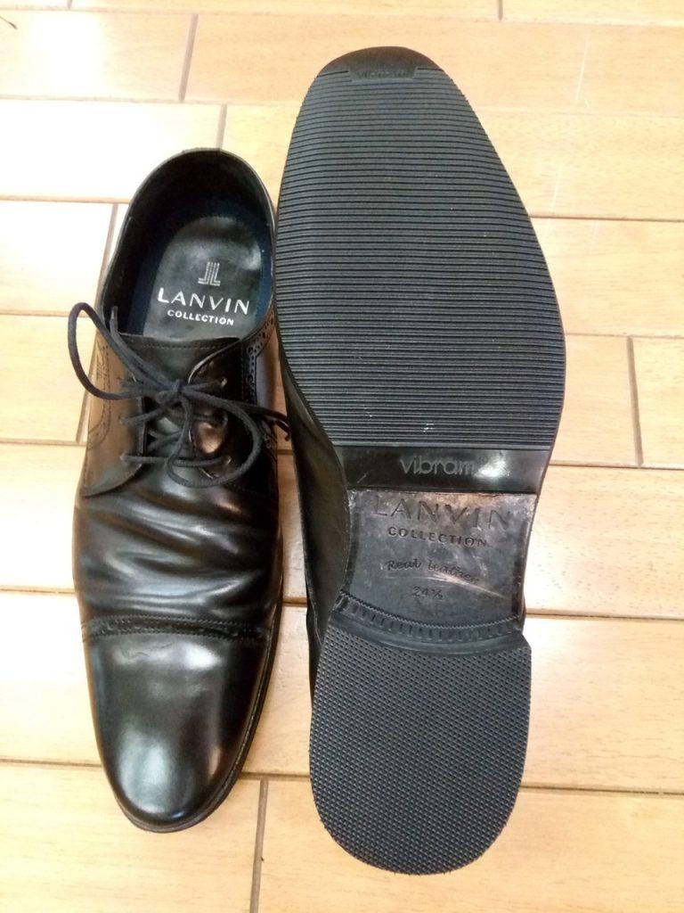 ランバンのビジネスシューズのゴム半張り&トップリフト交換の靴修理