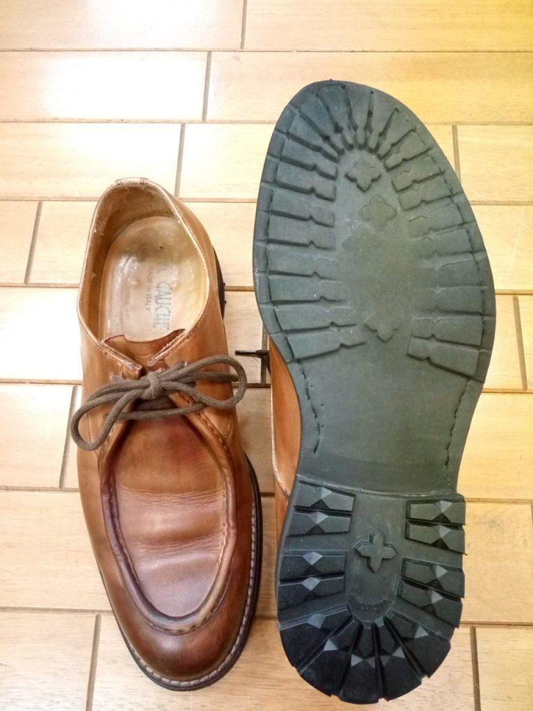 メンズシューズのヒール交換の靴修理