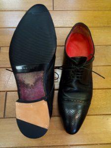 メンズシューズのトップリフト&ゴム半張り&半敷き交換の靴修理