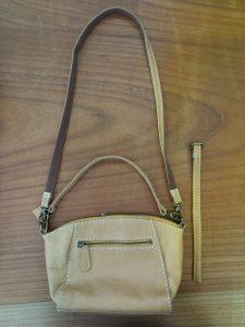 レディースバッグの持ち手の革を短くする鞄修理
