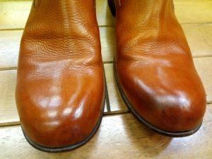 メンズブーツのトップリフト交換&アッパー磨きの靴修理