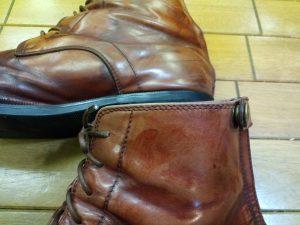 乗馬ブーツのミシンほつれ補修&ヒール補修の靴修理