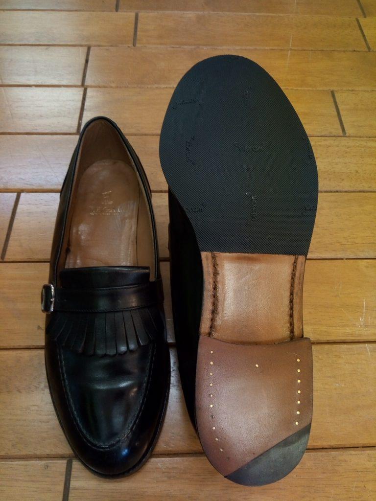 レディース・リーガルのローファーのオールソールの靴修理