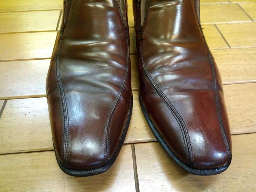メンズシューズのアッパー補修の靴修理