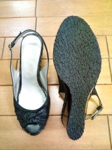 レディース・サンダルのオールソール&ヒール革巻き&インソール交換の靴修理