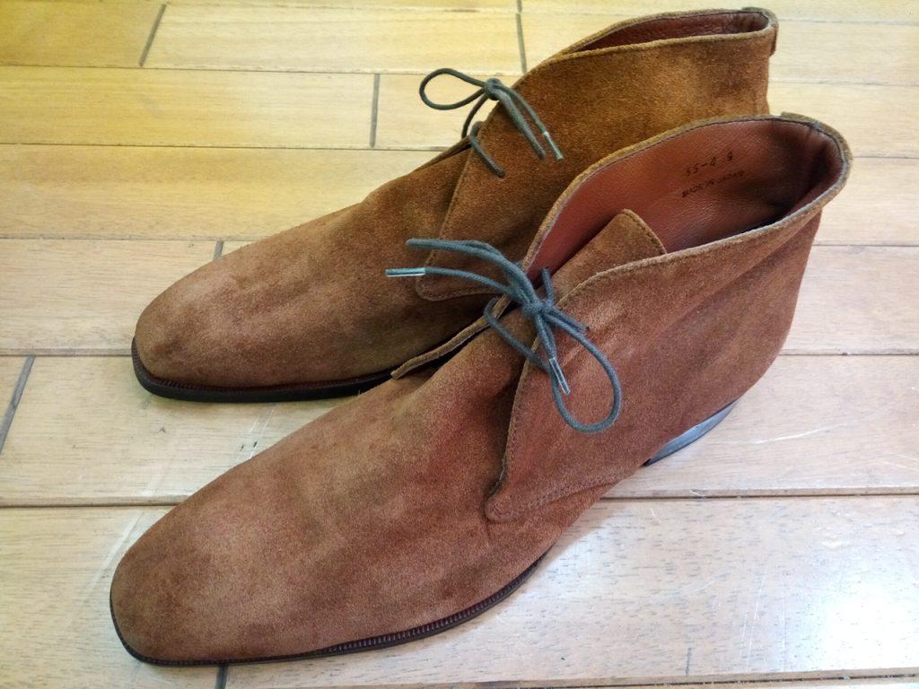 スエード・ブーツの丸洗い&色補色の靴修理
