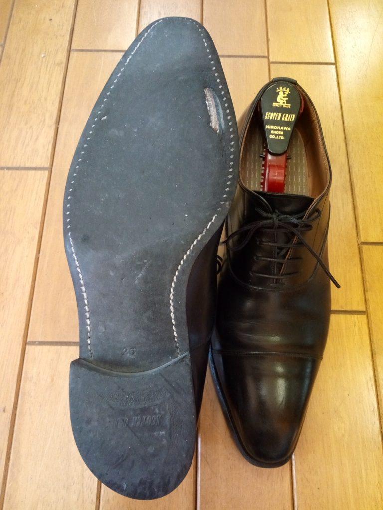 ヒロカワのスコッチグレインのオールソールの靴修理