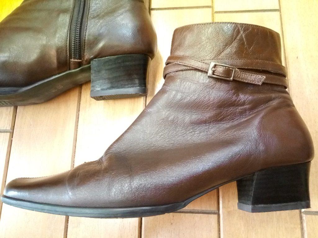 レディースブーツのヒール交換&アッパー補修の靴修理