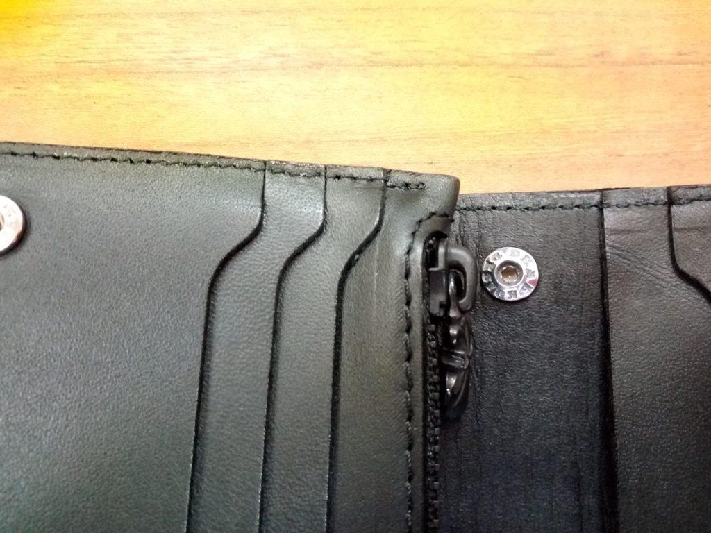 ヘビ革の財布の金具取付のサイフ修理