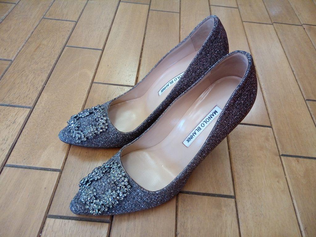 マノロブラニクのハイヒールパンプスのゴム半張りの靴修理
