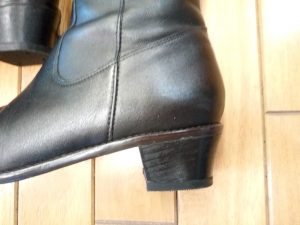 レディースブーツのヒール交換&つま先補修の靴修理