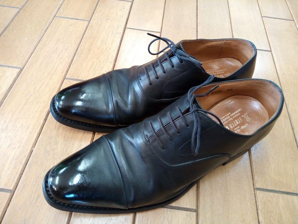 スコッチグレインのストレートチップのオールソールの靴修理