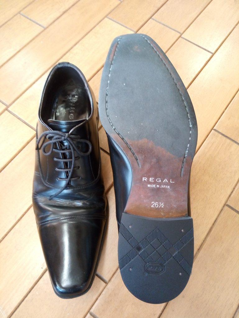 リーガルのストレートチップのヒール交換&アッパー補修の靴修理