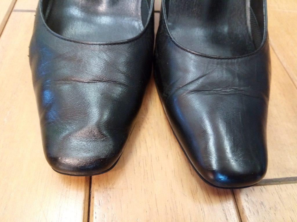レディース・パンプスのヒール補修&アッパーキズ補修の靴修理