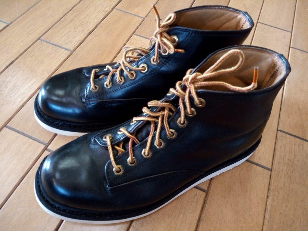 山長のワークブーツのオールソールの靴修理