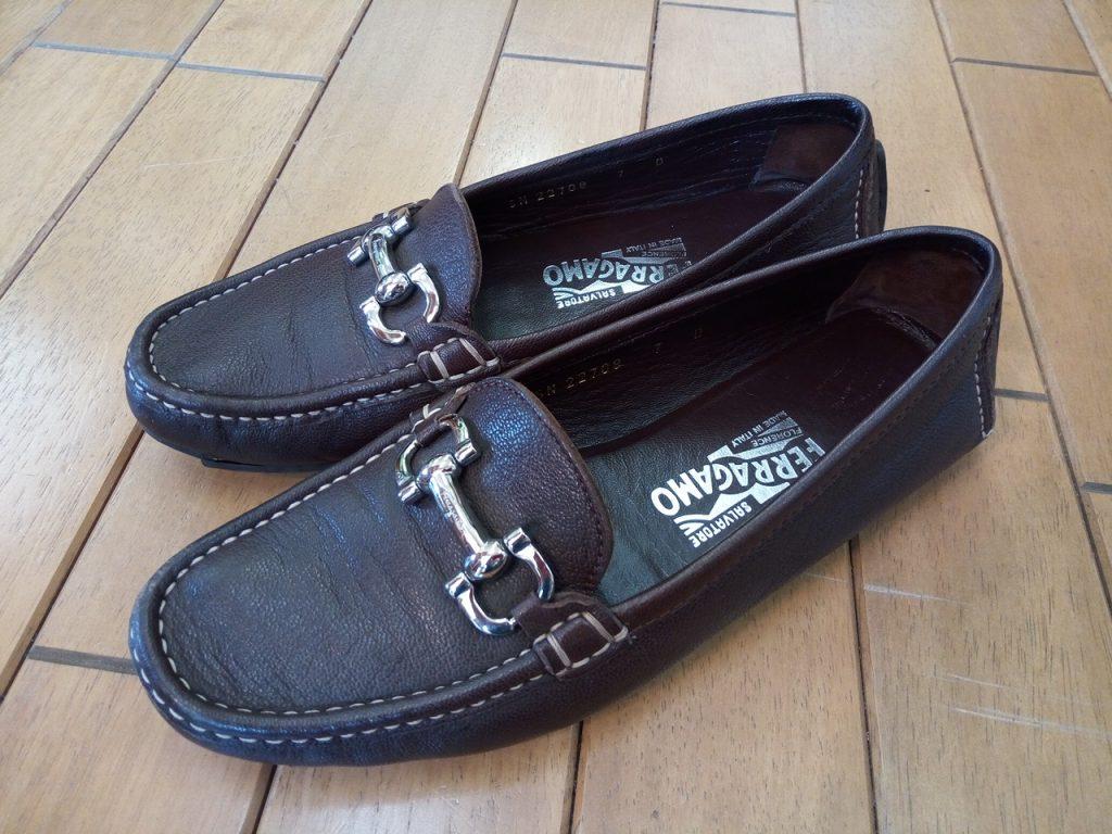 フェラガモのローファーのオールソールの靴修理