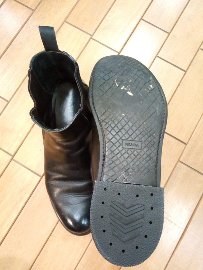 プラダのサイドゴアブーツのヒール交換の靴修理