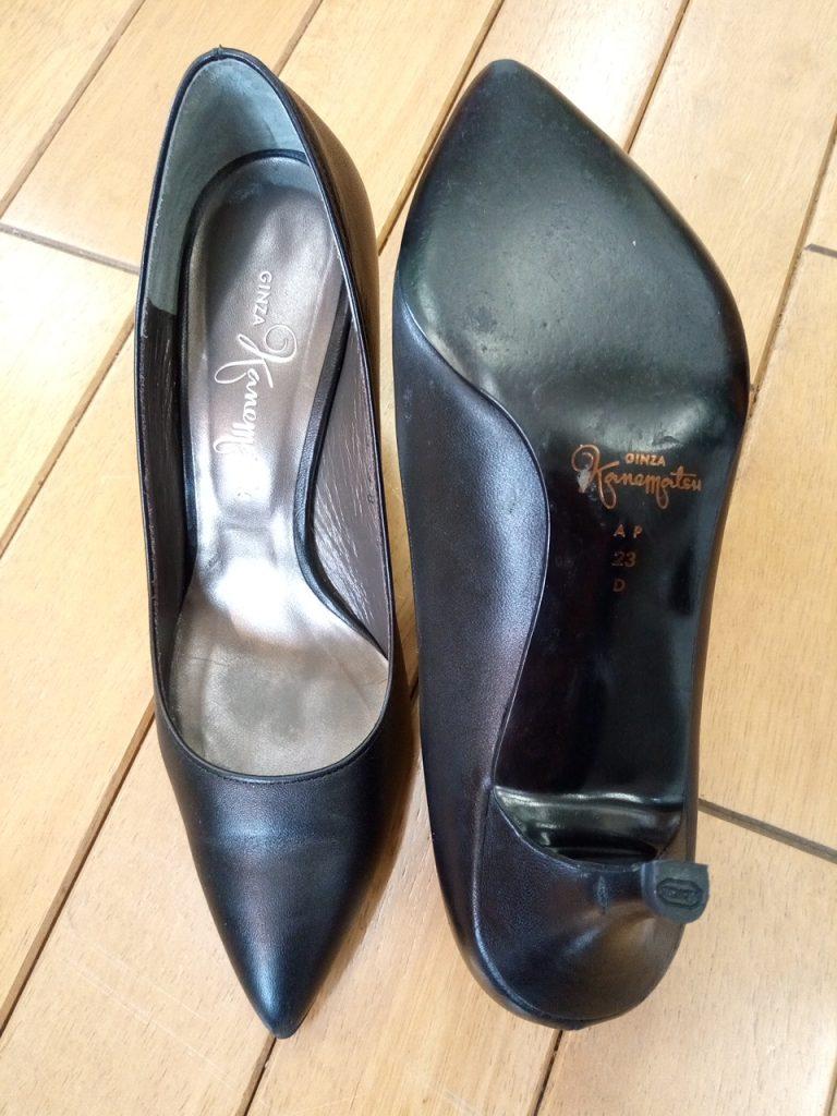 カネマツのパンプスのピンヒールトップリフト交換の靴修理