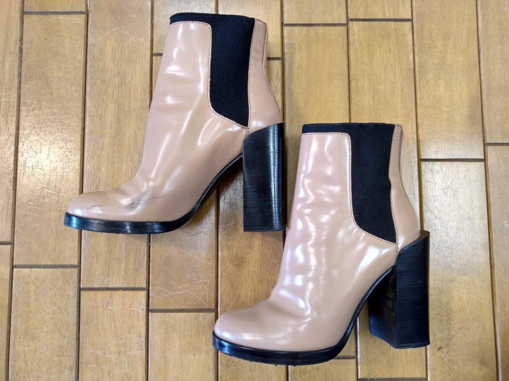 レディースブーツのアッパー汚れの靴修理
